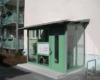 Aluminium Windfang im Außenbereich 2 Fach Isolierverglasung Farbe Weißgrün RAL 6019 mit Briefkasten Klingelanlage für Mehrfamilien Häuser & Ärztehäuser