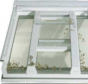 Schiebe – Dach – Fenster - Anlage Bei dieser Art der Ausführung, haben sie dann eine 50% Öffnung, in dem das Schiebefenster zwischen beiden Sparren angeordnet sind. (ca 800-1000 mm breite)