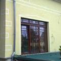 Holz Balkontür Teak Falt-Schiebe-Kipp Tür mit Oberlicht & Wiener Sprossen