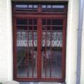 Holz Balkontür Teak 2 Flügelig mit Oberlicht & Wiener Sprossen
