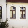 Denkmalgeschütztes Holzfenster 2 Flügelig mit Stichbogen Oberlicht