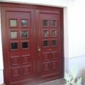 Holz Haustür 2 Flügelig mit Kassettenfüllung & Glas Altdeutsch K Farbe Mahagoni