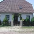 Holz Haustür Nusbaum lackiert mit Wiener Sprossen & Stoßgriff