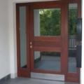 Holz Haustür mit Seitenteile Links & Rechts Farbe Teak