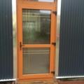 Kunststoff Haustür mit Oberlicht und Ornamentverglasung & Sprossen Farbe Streifen Douglasie
