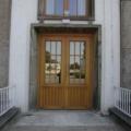 Holz Haustür 2 Flügelig Kiefer Eiche hell lackiert mit Wiener Sprossen & Stoßgriff