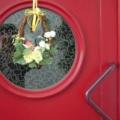 Kunststoff Haustür mit Bullaugen Verglasung & Füllung Dekor Dunkelrot