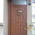 Kunststoff Haustür mit Seitenteil & Oberlicht mit Statiklisene Typ DV-28 Streifen Douglasie 3152009