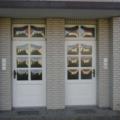 Holz Haustür Weiß mit Oberlicht und Wölb-scheiben