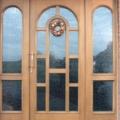 Holz Haustür mit Seitenteil Links & Rechts & Sprossen & Rundbogen Verglasung