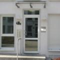 Aluminium Haustür Weiß mit Glas & Oberlicht & Kämpfer mit Edelstahl Stoßgriff