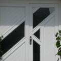 Holz Haustür mit Seitenteil Links & Fischgrätenmuster und Glas Weiß