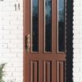 Holz Haustür mit Kassettenfüllung & Altdeutsch K Verglasung  Farbe Teak & Stoßgriff Messing