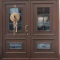 Holz Haustür 2 Flügelig  mit Wiener Sprossen Farbe Teak & Stoßgriff