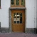 Holz Haustür Kiefer Eiche hell lackiert mit Wiener Sprossen