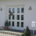 Holz Haustür 2 Flügelig mit Glasfüllung Weiß mit Edelstahl Stoßgriff