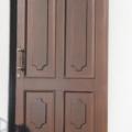 Holz Haustür mit Kassettenfüllung Farbe Teak & Stoßgriff Messing
