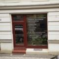 Holz Ladentür mit Oberlicht und Schaufenster