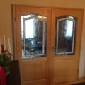 2 Flügelige Innentür als Stiltür Buche mit Bleiverglasung Barock Weiß  & Edelstahl Rosettengarnitur
