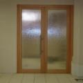 2 Flügelige Innentür Massivholz Buche mit Ornamentverglasung Silvit Weiß & Edelstahl Stoßgriff