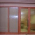 Innentür Massivholz Buche als Raumteiler mit Ornamentverglasung Silvit Weiß & Edelstahl Stoßgriff