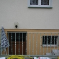 Außen Stahlgeländer mit Zierstäben & Flachstahl Handlauf & 90 Grad Ecke