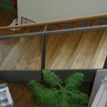 Stahlwangentreppe mit Eiche Massiv Parkett Stufen & ESG Glasfüllung Klar RAL 7004 Silbergrau
