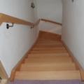 Massivholzwangentreppe Buche Lackiert 1/4 gewendelt Wandhandlauf oberhalb gerundet und geschwungen 40 X 80 mm & Wandhandlaufhalter Messing