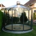 """Aluminium Pavillon """"Rondo VG"""" Freistehend Dachverglasung Plexiglas transparent und Seitenverglasung ESG Farbe anthrazitgrau DB 703 & Dachlüfter & Öffnung inklusive Dach bis zu 180 Grad möglich"""