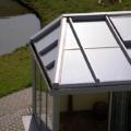 Aluminium Wintergarten abgewalmt mit Faltanlage und Seitenverglasung Festverglasung Farbe RAL 7001 Silbergrau & WG Dachfenster Sonnenschutzverglasung  70/30 & 10 mm Sicherheitsglas