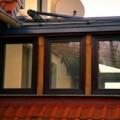 Holz Aluminium Wintergarten mit Unterbauelement Kunststoff Fenster Dreh Kipp Mahagoni Dach RAL 7016 Anthrazitgrau & 2-Fach Dach Verglasung VSG 10 mm & Erhard Wintergarten Markise Farbe DB 703 Tuch Acrylstoff Farbe Rot & Funkmotor & Handsender