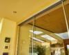 Ganzglas Schiebewand mit Bürstendichtung Silber Feinstruktur