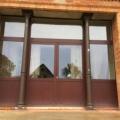 Aluminium Haustür 2-Flügelig Mahagoni mit Oberlicht und Seitenteile Links & Rechts & Kampfer & Sandwichplatte unten & oben Gals 2-Fach Sicherheitsverglasung
